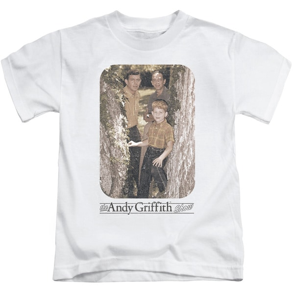 Andy Griffith/Tree Photo Short Sleeve Juvenile Graphic T-Shirt in White