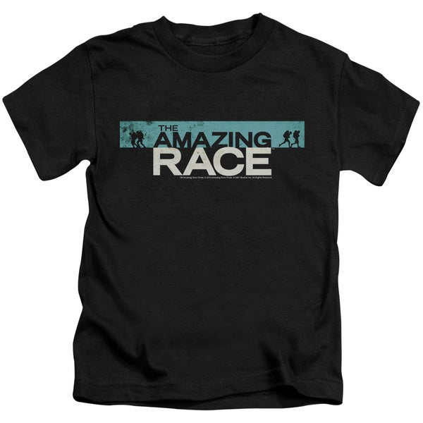 Amazing Race/Bar Logo Short Sleeve Juvenile Graphic T-Shirt in Black