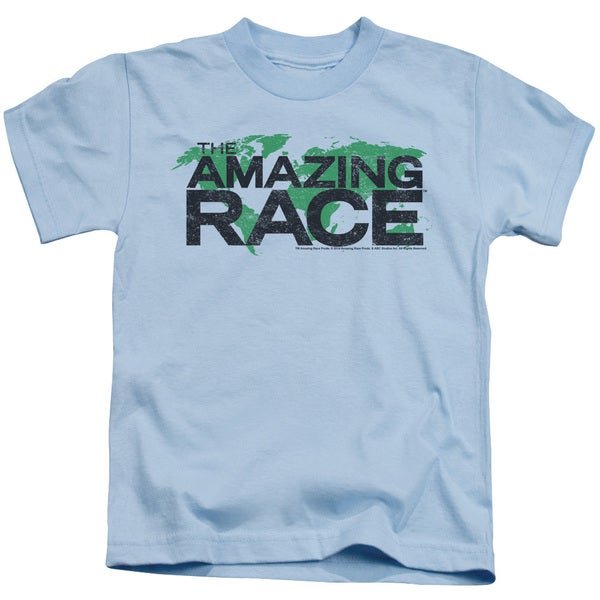 Amazing Race/Race World Short Sleeve Juvenile Graphic T-Shirt in Light Blue