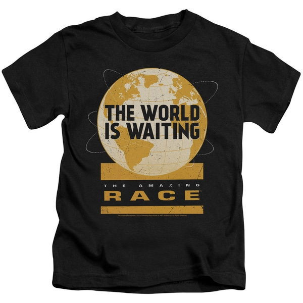Amazing Race/Waiting World Short Sleeve Juvenile Graphic T-Shirt in Black