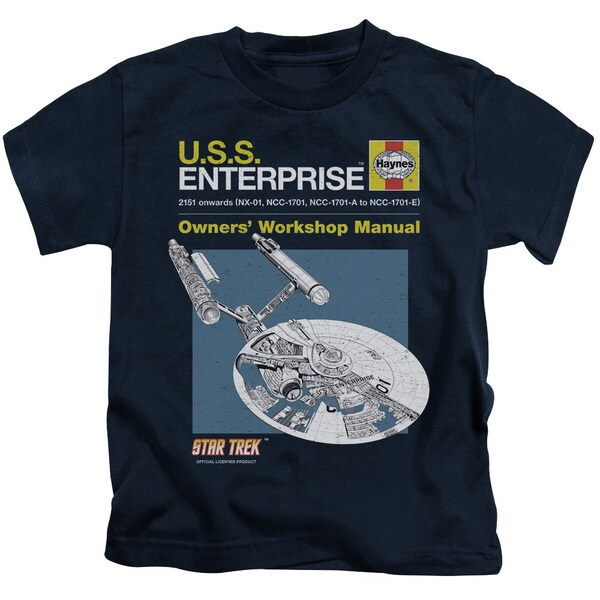 Star Trek/Enterprise Manual Short Sleeve Juvenile Graphic T-Shirt in Navy