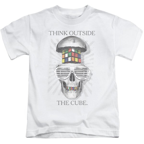 Rubik's Cube/Outside The Cube Short Sleeve Juvenile Graphic T-Shirt in White