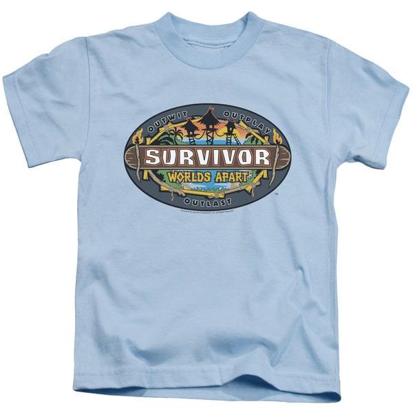 Survivor/Worlds Apart Logo Short Sleeve Juvenile Graphic T-Shirt in Light Blue