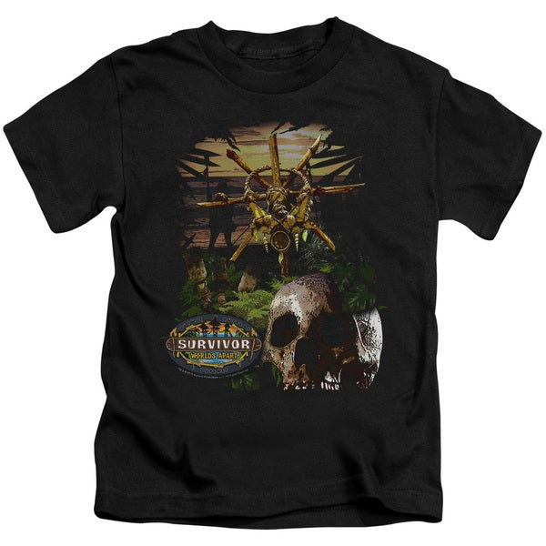 Survivor/Jungle Short Sleeve Juvenile Graphic T-Shirt in Black