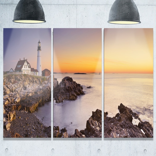 Portland Head Lighthouse Maine - Modern Seascape Metal Wall At - 36Wx28H