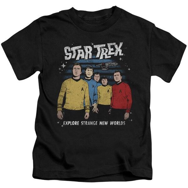 Star Trek/Stange New World Short Sleeve Juvenile Graphic T-Shirt in Black