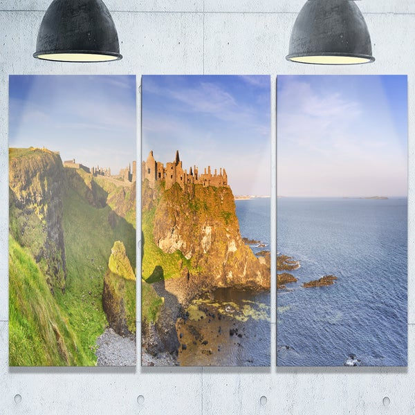 Dunluce Castle in Northern Ireland - Large Seascape Metal Wall At - 36Wx28H