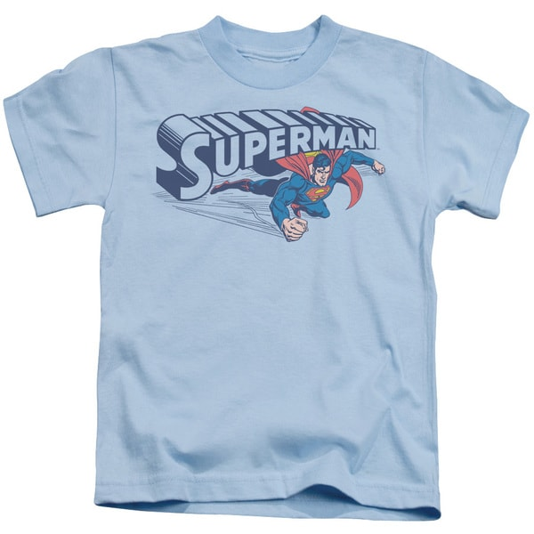 Superman/Under Logo Short Sleeve Juvenile Graphic T-Shirt in Light Blue