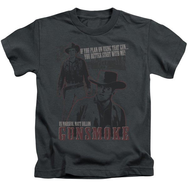 Gunsmoke/Us Marshall Matt Dillon Short Sleeve Juvenile Graphic T-Shirt in Charcoal
