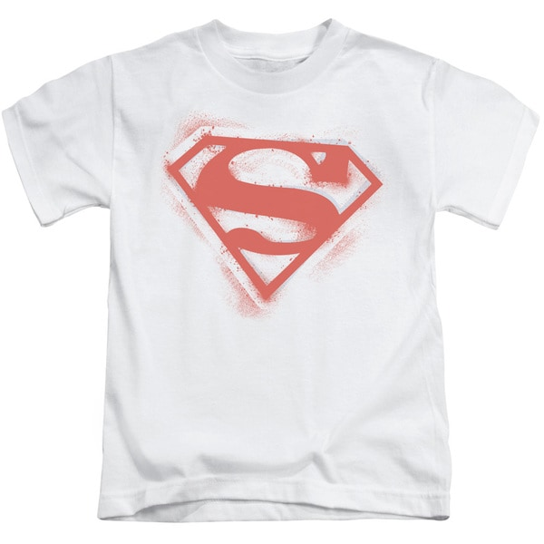 Superman/Spray Paint Shield Short Sleeve Juvenile Graphic T-Shirt in White