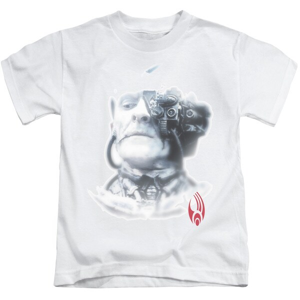 Star Trek/Borg Head Short Sleeve Juvenile Graphic T-Shirt in White