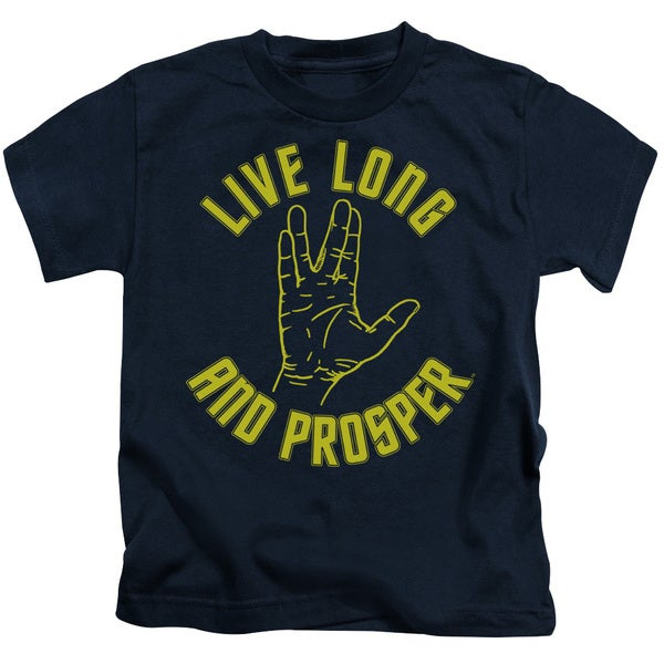 Star Trek/Live Long Hand Short Sleeve Juvenile Graphic T-Shirt in Navy