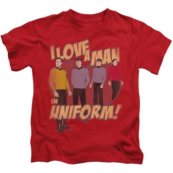 Star Trek/Man in Uniform Short Sleeve Juvenile Graphic T-Shirt in Red