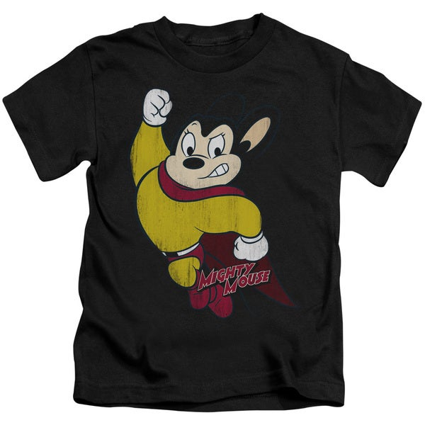 Mighty Mouse/Classic Hero Short Sleeve Juvenile Graphic T-Shirt in Black