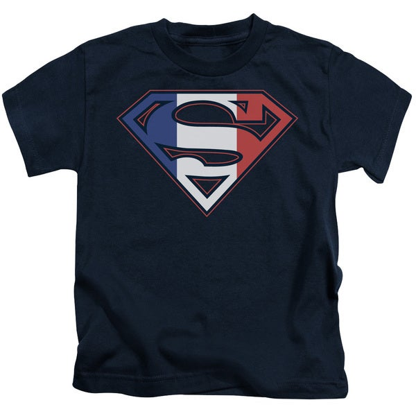 Superman/French Shield Short Sleeve Juvenile Graphic T-Shirt in Navy