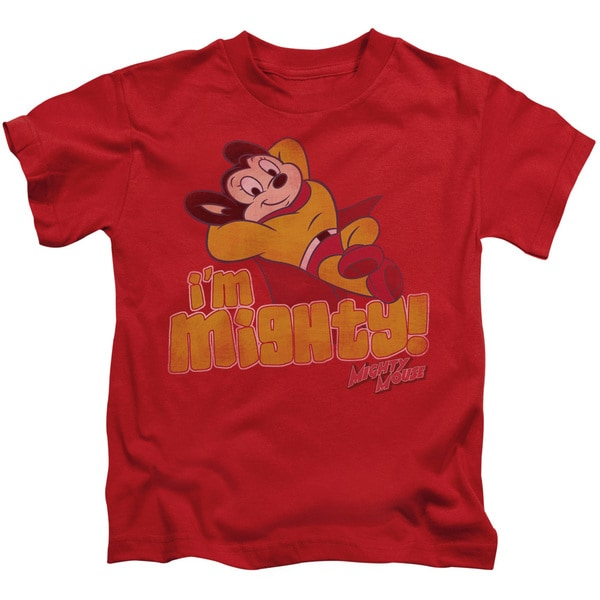 Mighty Mouse/I'M Mighty Short Sleeve Juvenile Graphic T-Shirt in Red