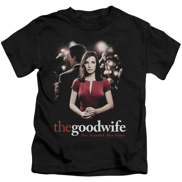 The Good Wife/Bad Press Short Sleeve Juvenile Graphic T-Shirt in Black