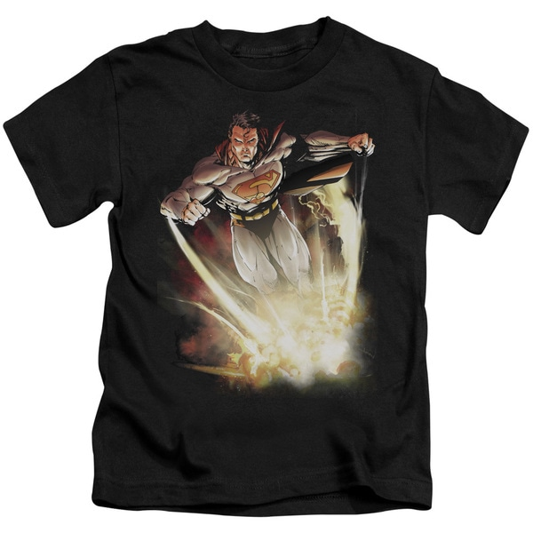 Superman/Explosive Short Sleeve Juvenile Graphic T-Shirt in Black