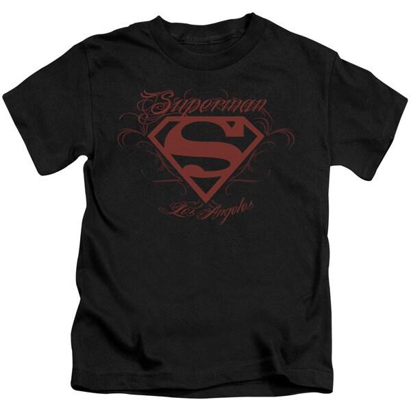 Superman/La Short Sleeve Juvenile Graphic T-Shirt in Black