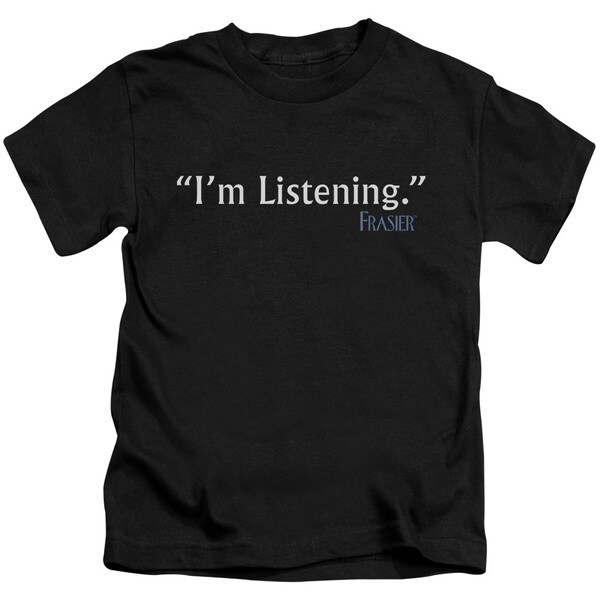 Frasier/I'M Listening Short Sleeve Juvenile Graphic T-Shirt in Black