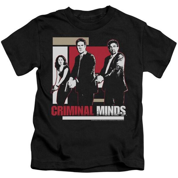 Criminal Minds/Guns Drawn Short Sleeve Juvenile Graphic T-Shirt in Black