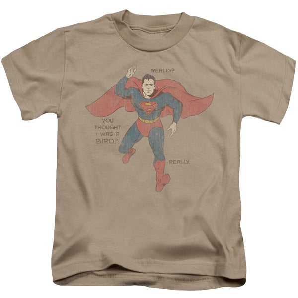 Superman/A Bird Short Sleeve Juvenile Graphic T-Shirt in Sand