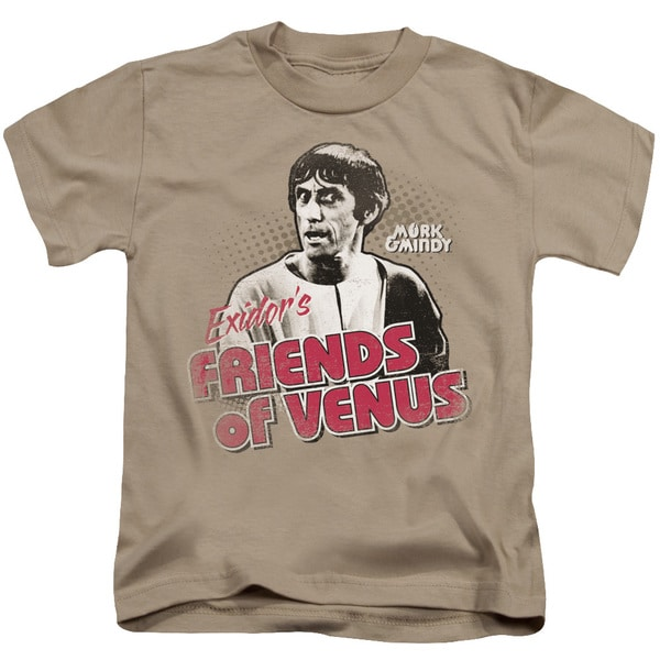 Mork & Mindy/Friends Of Venus Short Sleeve Juvenile Graphic T-Shirt in Sand