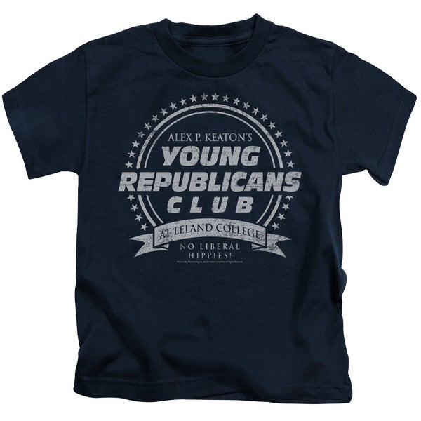 Family Ties/Young Republicans Club Short Sleeve Juvenile Graphic T-Shirt in Navy