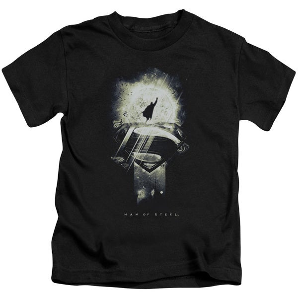 Man Of Steel/Space Glow Short Sleeve Juvenile Graphic T-Shirt in Black