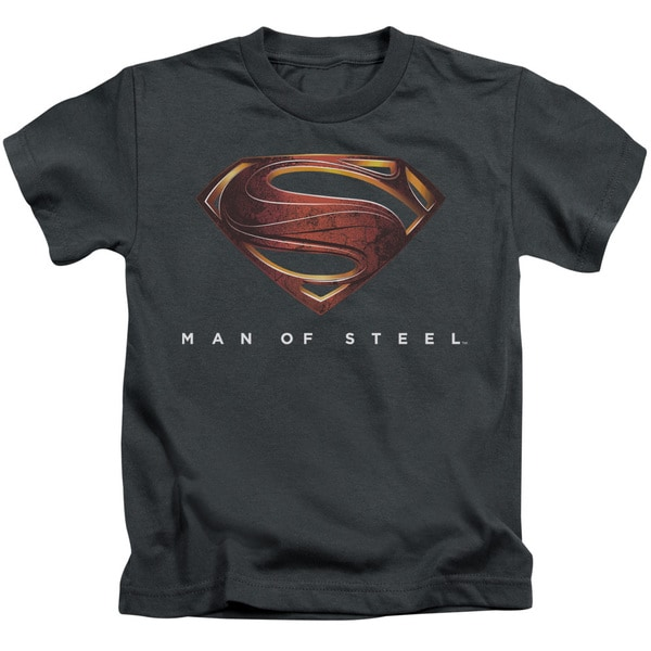 Man Of Steel/Mos New Logo Short Sleeve Juvenile Graphic T-Shirt in Charcoal