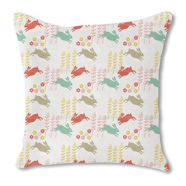 Funny Bunny Hip Hop Burlap Pillow Single Sided