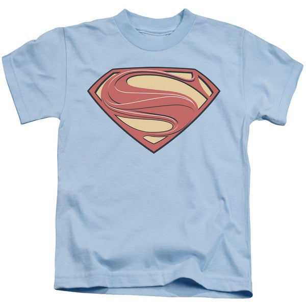 Man Of Steel/New Solid Shield Short Sleeve Juvenile Graphic T-Shirt in Light Blue