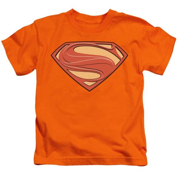 Man Of Steel/New Solid Shield Short Sleeve Juvenile Graphic T-Shirt in Orange