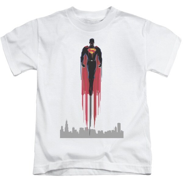 Man Of Steel/Red Streak Short Sleeve Juvenile Graphic T-Shirt in White