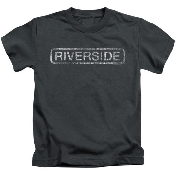 Riverside Distressed Short Sleeve Juvenile Graphic T-Shirt in Charcoal