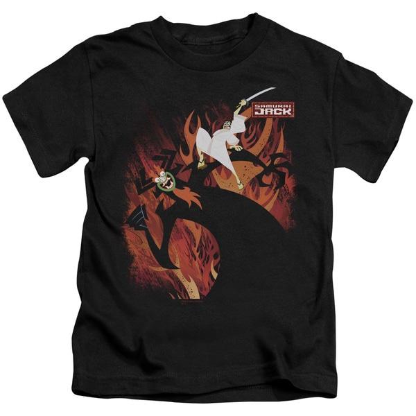 Samurai Jack/Jack Vs Aku Short Sleeve Juvenile Graphic T-Shirt in Black