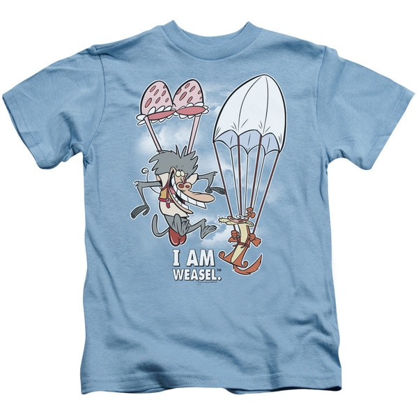 I Am Weasel/Balloon Ride Short Sleeve Juvenile Graphic T-Shirt in Carolina Blue