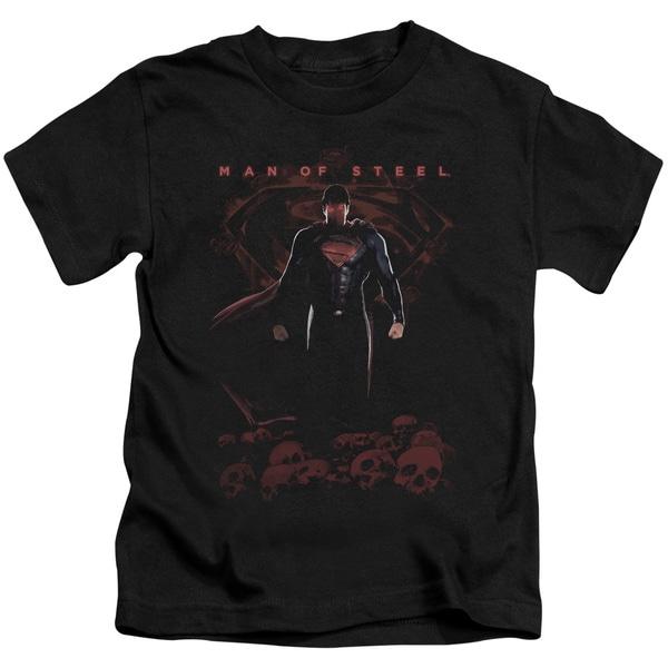 Man Of Steel/Super Skulls Short Sleeve Juvenile Graphic T-Shirt in Black