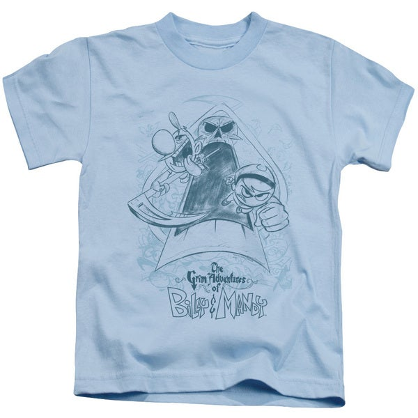 Grim Adventures Of Billy & Mandy/Sketched Short Sleeve Juvenile Graphic T-Shirt in Light Blue
