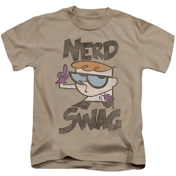 Dexter's Laboratory/Nerd Swag Short Sleeve Juvenile Graphic T-Shirt in Sand