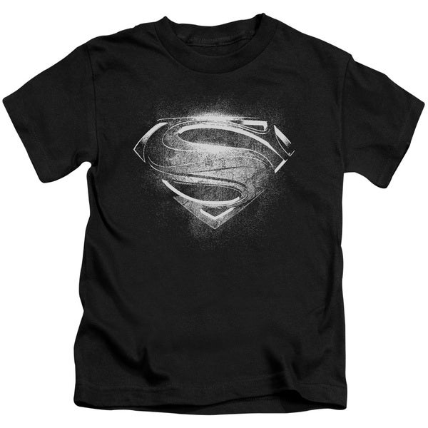 Man Of Steel/Contrast Symbol Short Sleeve Juvenile Graphic T-Shirt in Black