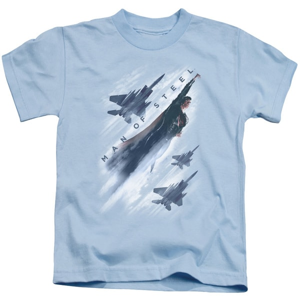 Man Of Steel/Air Superiority Short Sleeve Juvenile Graphic T-Shirt in Light Blue