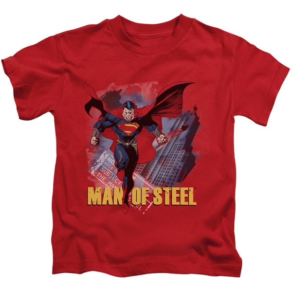 Man Of Steel/Fly By Short Sleeve Juvenile Graphic T-Shirt in Red