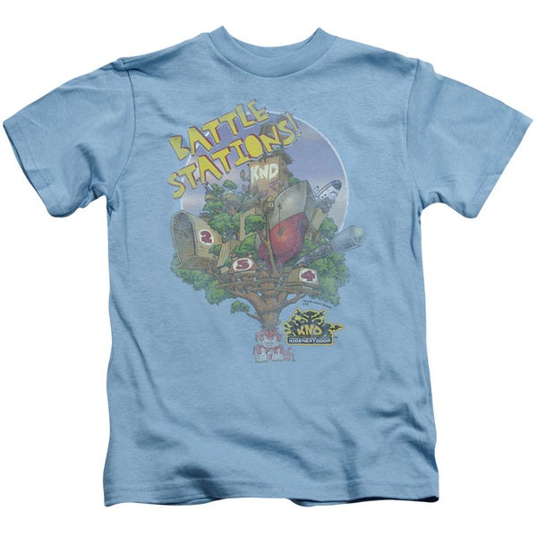 Kids Next Door/Battle Stations Short Sleeve Juvenile Graphic T-Shirt in Carolina Blue