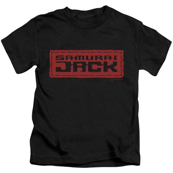 Samurai Jack/Red Logo Short Sleeve Juvenile Graphic T-Shirt in Black