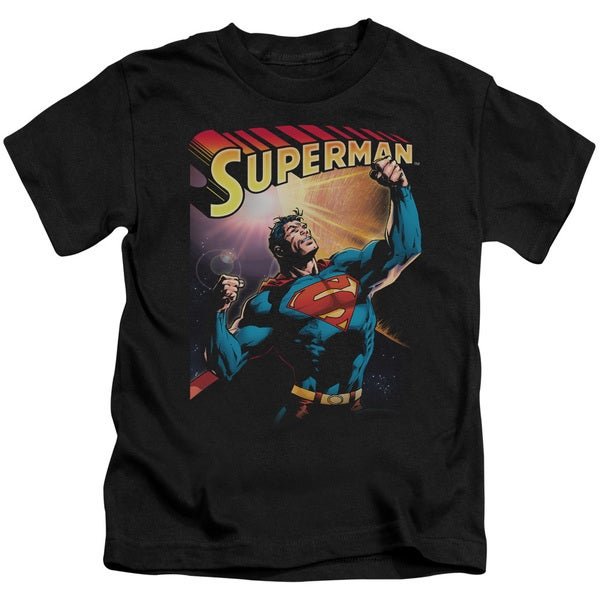 Superman/Victory Short Sleeve Juvenile Graphic T-Shirt in Black