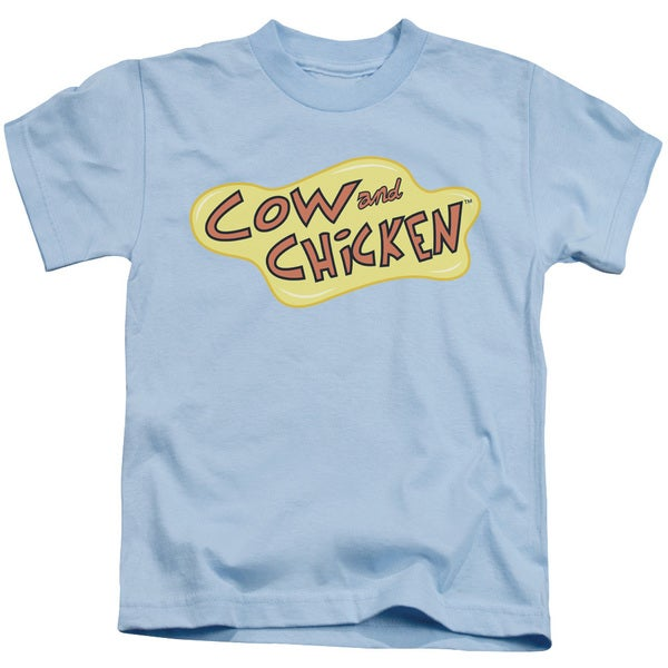Cow and Chicken/Cow Chicken Logo Short Sleeve Juvenile Graphic T-Shirt in Light Blue