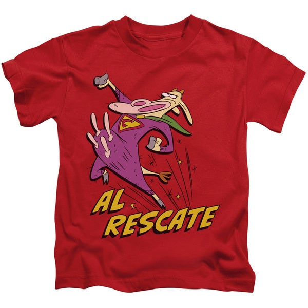 Cow and Chicken/Al Rescate Short Sleeve Juvenile Graphic T-Shirt in Red