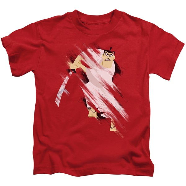Samurai Jack/Slice and Dice Short Sleeve Juvenile Graphic T-Shirt in Red