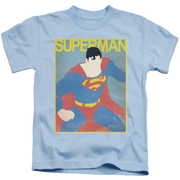 Superman/Simple Sm Poster Short Sleeve Juvenile Graphic T-Shirt in Light Blue